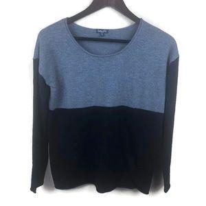 Splendid Womens Sweater, Gray Black Crew Small